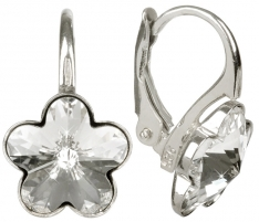 Auskarai Troli Dívčí stříbrné náušnice Flower Crystal Earrings