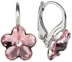 Auskarai Troli Dívčí stříbrné náušnice Flower Light Rose Earrings