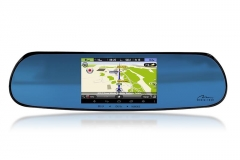 Automobilio veidrodėlis su GPS sistema U-DRIVE NAVIGATION - Rear-view car mirror with GPS navigation system, 2 car dvr GPS navigacinė technika