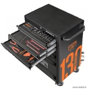 """BAHCO 1470K6BKFFC7 įrankių spintelė - vežimėlis su 215 vnt. įrankių 26""""-6 STALČIAI"""