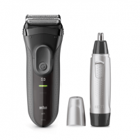 Barzdaskutė Braun Shaver + Trimmer 3000VS + EN10 Cordless, Charging time 1 h, Operating time 45 min, Nose trimmer included, Accumulator, Black/Silver Skūšanās