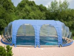 Oval pool cover 10.8x4.9m Pools in the curtain