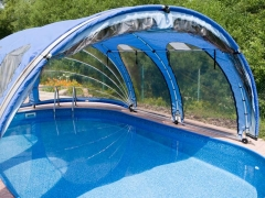 Oval pool cover 8.1x4.1m Pools in the curtain