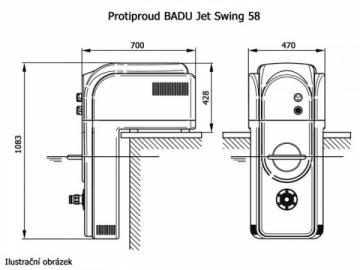 Pašreizējais baseins atdarinātājs Protiproud Badu Jet Swing 380V-58M3/H Swimming pools accessories, accessories