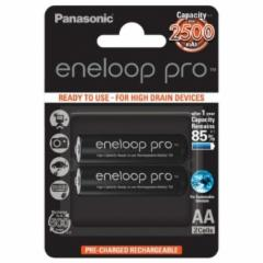 Eneloop PRO Ready To Use Rechargeable Battery 2x AA BK-3HCDE-2BE (2500mAh)/ Recharge 500 Times/ for high drain devices