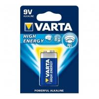 Baterijos VARTA alkaline batteries Hi-voltage 9V (typ 6LR61) 1pcs high energy