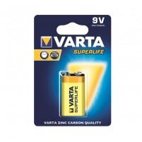Baterijos VARTA zinc carbon batteries Hi-voltage 9V (typ 6LR61) 1pcs superlife Baterijos, elementai, įkrovikliai