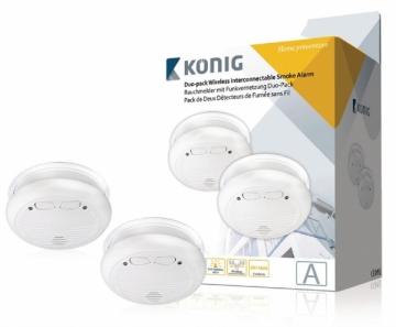 Bevielis dūmų detektorius König duo-pack SAS-SA2002 Dūmų detektoriai, gaisro gesinimo priemonės