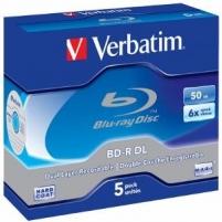 BluRay BD-R Dual Layer Verbatim [ jewel case 5 | 50GB | 6x | Scratchguard Plus ]