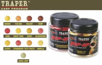 Boiliai Traper Pop Up Vanilla 12mm/ 50g medus Žvejybiniai jaukai, pašarai