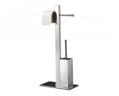 BRIDGE stovas su unitazo šepečiu ir tualetinio popieriaus laikikliu, chromas