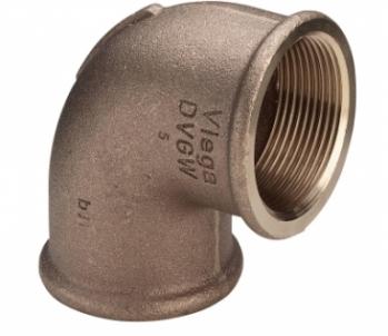 Bronzinė alkūnė VIEGA, d 1/2'', 90*, išorė-išorė Bronzinės nepadengtos alkūnės