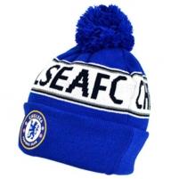 Chelsea F.C. žieminė kepurė su bumbulu ir tekstu (Mėlyna) Sirgalių atributika