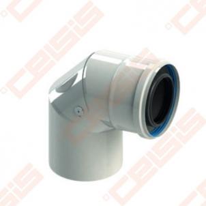 Cinkuoto plieno ir polipropileno 90° alkūnė su revizija JEREMIAS TW-PL64 Dn60/100