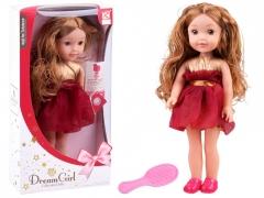Dainuojanti lėlė su kaštoninės spalvos suknele