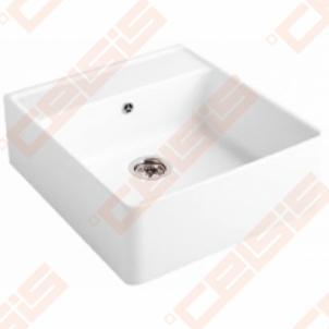 Dalinai įleidžiama plautuvė VILLEROY&BOCH Single-Bowl 595x630, baltos spalvos Keraminės virtuvės plautuvės