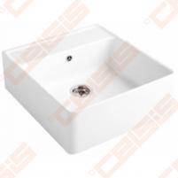 Dalinai įleidžiama plautuvė VILLEROY&BOCCH Single-bowl 630x595, dviejų skylių, baltos spavos Keramikas virtuves izlietnes