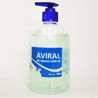 Dezinfekcinis hidroalkoholinis rankų gelis AVIRAL 500 ml. Veido, galvos apsaugos bei dezinfekcinės priemonės