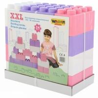 Didelės konstruktoriaus kaladėlės XXL 24 vnt | pastelinių spalvų | Wader Kaladėlės ir statybos žaislai