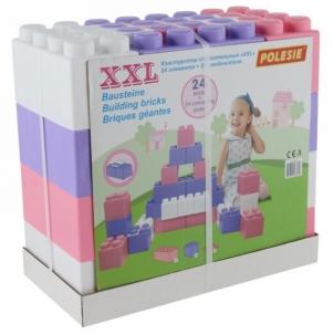 Didelės konstruktoriaus kaladėlės XXL 24 vnt su jungtimis | pastelinių spalvų | Wader Kaladėlės ir statybos žaislai