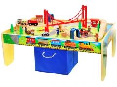 Didelis žaidimų stalas su mediniu traukiniu Toys for boys