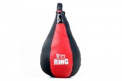 Dirbtinės odos bokso kriaušė Ring Sport juoda/raudona 5kg Large