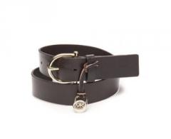 Diržas Michael Kors Ladies Leather Belt Braided Dark Brown Diržai