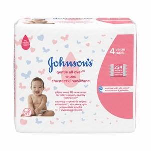 Drėgnos servetėlės JOHNSON`S Baby (Gentle All Over Wipes) 4 x 56 pcs Kūdikių higienos prekės, sauskelnės