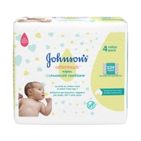 Drėgnos servetėlės JOHNSON`S Baby Extra soft wet wipes for children Cottontouch (Extra Sensitiv e Wipes) 4 x 56 pcs