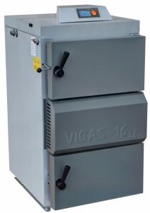 Dujų generacinis kieto kuro katilas VIGAS 16S (12-18 kW) AK3000 su Lambda zondu, kairės pusės A traditional solid fuel boilers