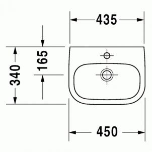 Duravit D-Code praustuvas 45x34 be perlajos