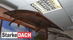 Durų stogelis STARKEDACH LENKTAS 160x100x25 cm. Rudas rėmas. Durų stogeliai