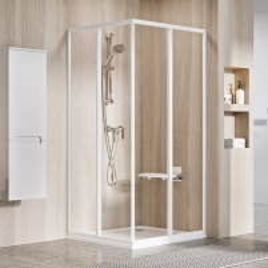 Dušo durys SRV2-80 S balta +stiklas TRANSPARENT Shower wall