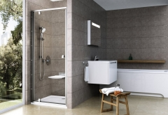 Dušo durys varstomos PDOP1-90 SATIN+satin TRANSPERENT Shower wall