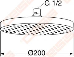 Dušo galva GUSTAVSBERG iš lubų apvali G2 200 mm