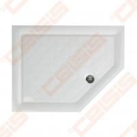 Dušo padėklas PAA CLASSIC 900x700x500 su panele ir kojelėmis, dešininis, baltas