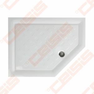 Dušo padėklas PAA CLASSIC 900x700x500 su panele ir kojelėmis, dešininis, pilkas