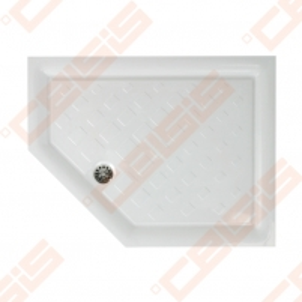 Dušo padėklas PAA CLASSIC 900x700x500 su panele ir kojelėmis, kairinis, baltas