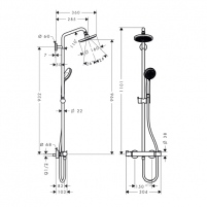 Dušo sistema Croma 160 Showerpipe 27135000