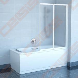 Dviejų dalių sulankstoma vonios sienelė RAVAK VS2 105 su baltos spalvos profiliu ir plastiko Rain užpildu