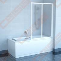 Dviejų dalių sulankstoma vonios sienelė RAVAK VS2 105 su baltos spalvos profiliu ir skaidriu stiklu Душ стены
