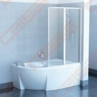 Dviejų dalių sulankstoma vonios sienelė RAVAK VSK2 140 Rosa su baltos spalvos profiliu ir skaidriu stiklu, kairė pusė