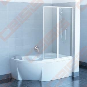 Dviejų dalių sulankstoma vonios sienelė RAVAK VSK2 170 Rosa su baltos spalvos profiliu ir skaidriu stiklu, dešinė pusė