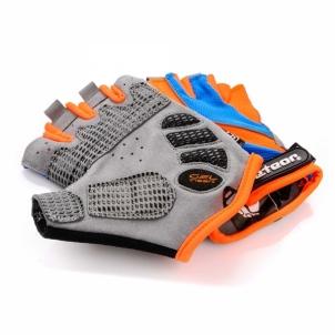 Velosipēdistu cimdi Meteor blue/orange/grey