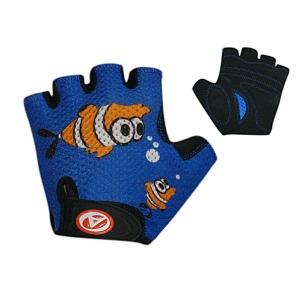 Dviratininkų pirštinės Junior Fish blue/black size S Dviratininkų pirštinės