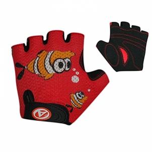 Dviratininkų pirštinės Junior Fish red/black size S Dviratininkų pirštinės