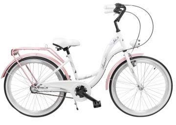 Dviratis AZIMUT Julie 24 Nexus3 2019 white-pink Paauglių dviračiai
