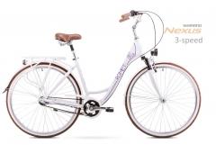 Dviratis Romet Art Deco 3 2019 white-violet L(19) Miesto dviračiai