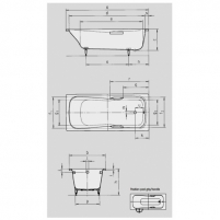 Dyna Set vonia 160X70X43cm su skylėmis rankenėlėms. Vonios