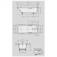 Dyna Set vonia 180X80X43cm su skylėmis rankenėlėms. Vonios